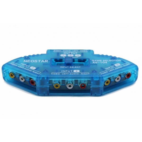 NEOSTAR Selector Switcher Box 3*3RCA INPUT TO 1*3RCA OUTPUT قسام صوت وصورة 3مداخل صوت وصورة ومخرج واحد صوت وصورة