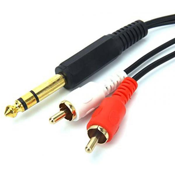 Cable Audio 6.35 mm stereo jack male > 2 x RCA male  سلك توصيل صوت ستيريو 2 ارسي اي إلى ستيريو جك مسمار 6.5 بطول 3متر