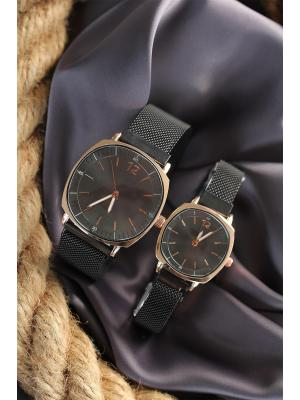 Couple's Square Case Magnetic Black Straw Strap Watches