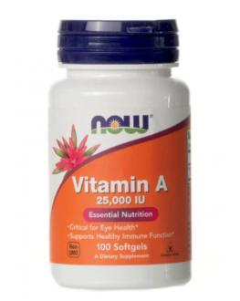 فيتامين - Now Foods, Vitamin A, 25,000 IU, 100 Softgels