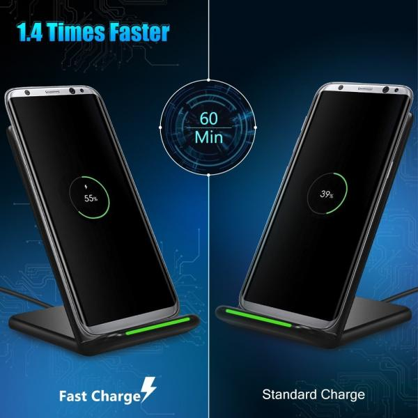 Seneo QI Wireless Charger, Fast Wireless Charging Stand Pad for Samsung Galaxy Note 8 S8 S8 Plus S7 Edge S7 S6 Edge Plus Note 5 and Standard Charge for Apple iPhone X iPhone 8 iPhone 8 Plus
