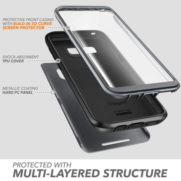 Galaxy S8+ Plus Case, Clayco [Hera Series] Full-body Rugged Case with Built-in Screen Protector for Samsung Galaxy S8+ Plus (2017 Release) (Black)