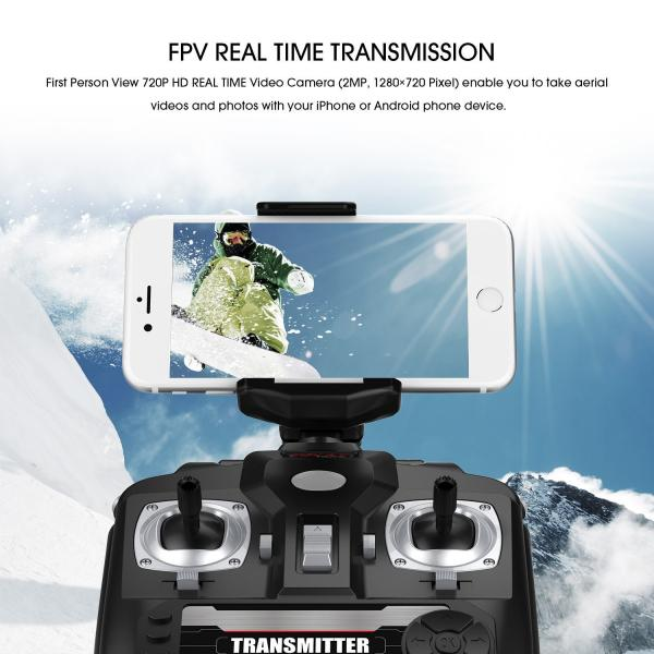 DBPOWER MJX X400W FPV Drone with Wifi Camera Live Video Headless Mode 2.4GHz 4 Chanel 6 Axis Gyro RTF RC Quadcopter, Compatible with 3D VR Headset