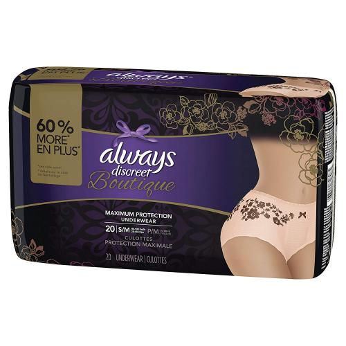 Always Discreet Boutique Incontinence& Postpartum Underwear for Women, Disposable, Maximum Protection, Peach, 20 Count for small size and 18 for Large size