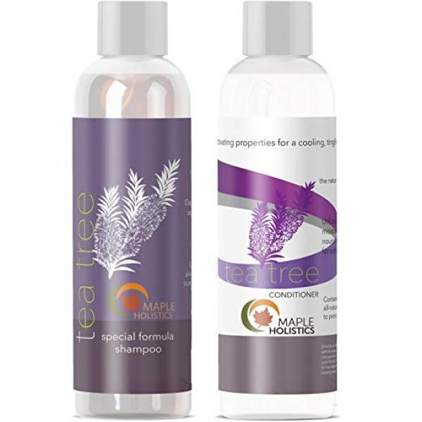 Tea Tree Oil Shampoo and Hair Conditioner Set - Natural Anti Dandruff Treatment for Dry and Damaged Hair - Best Gift Bundle for Men and Women - Sulfate Free& Safe for Color Treated Hair - USA Made