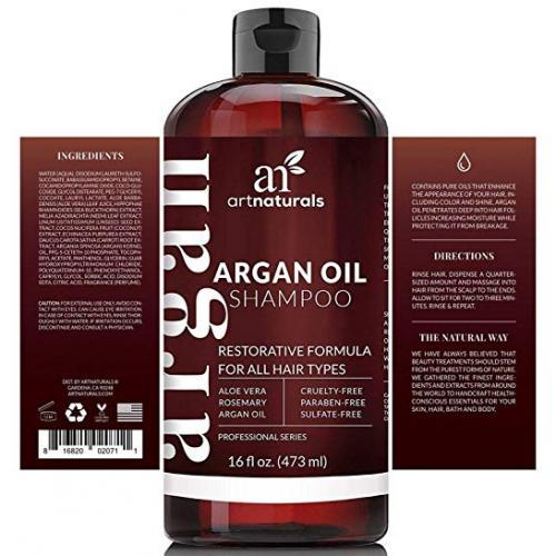 ArtNaturals Moroccan Argan Oil Shampoo - Moisturizing, Volumizing Sulfate Free Shampoo for Women, Men and Teens - Used for Colored and All Hair Types, Anti-Aging Hair Care,(16 Fl Oz / 473ml)