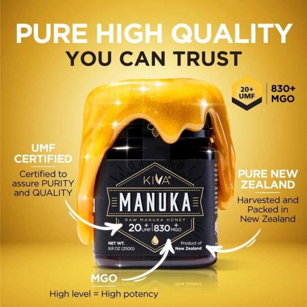 Kiva Certified UMF 20+, Raw Manuka Honey - New Zealand (8.8 oz / 250g)