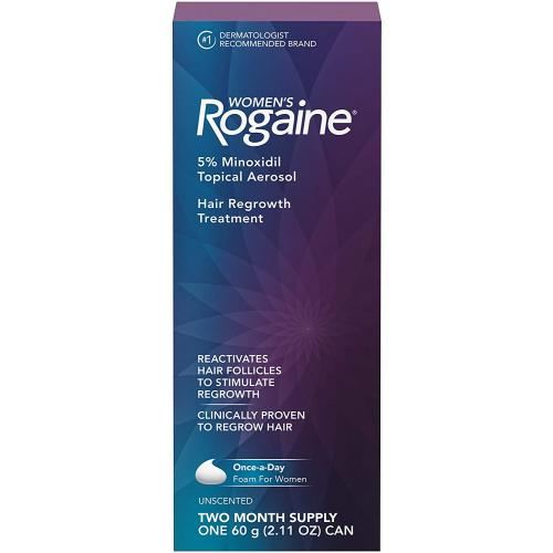 Women's Rogaine 5 Pure Minoxidil Foam for Hair Thinning and Loss, Topical Treatment for Women s Hair Regrowth, 2-Month Supply