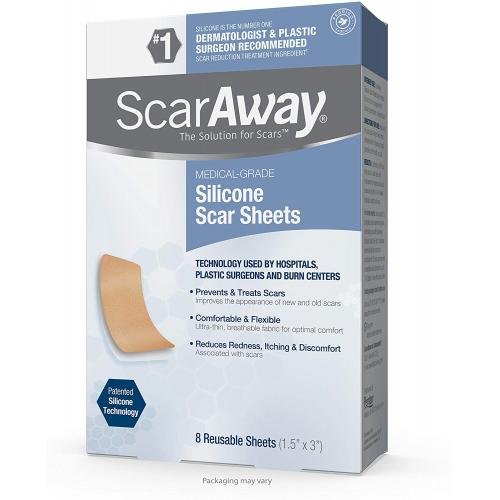 ScarAway Professional Grade Silicone Scar Treatment Sheets 1.5 x 3 8-Count