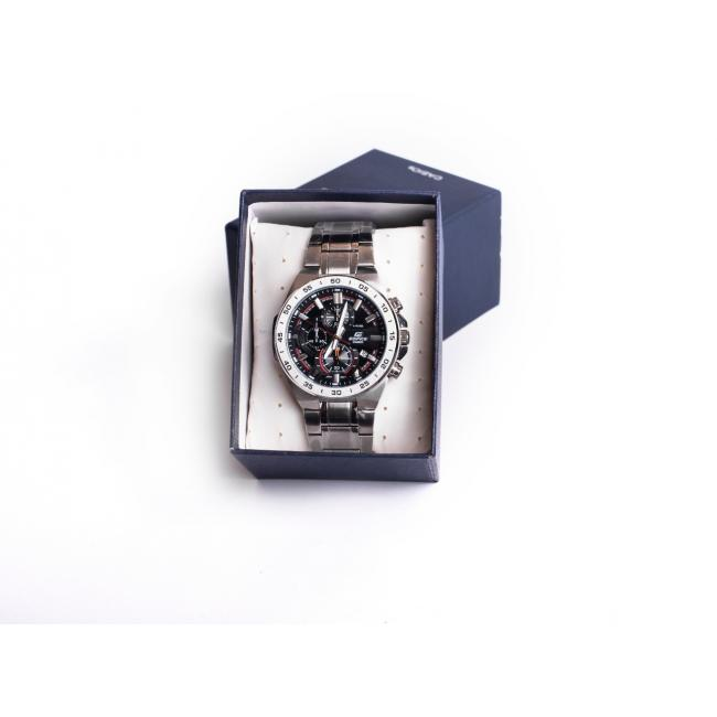 Casio Edifice Japan Mopt With Silver Band And Black Dial